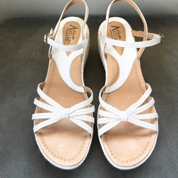 Clarks White Leather Wedge Sandals SIZE 9M